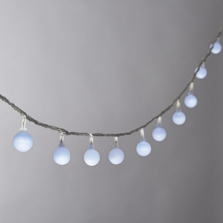 Frosted Cool White Globe Battery String Lights with Timer, Strand of 100