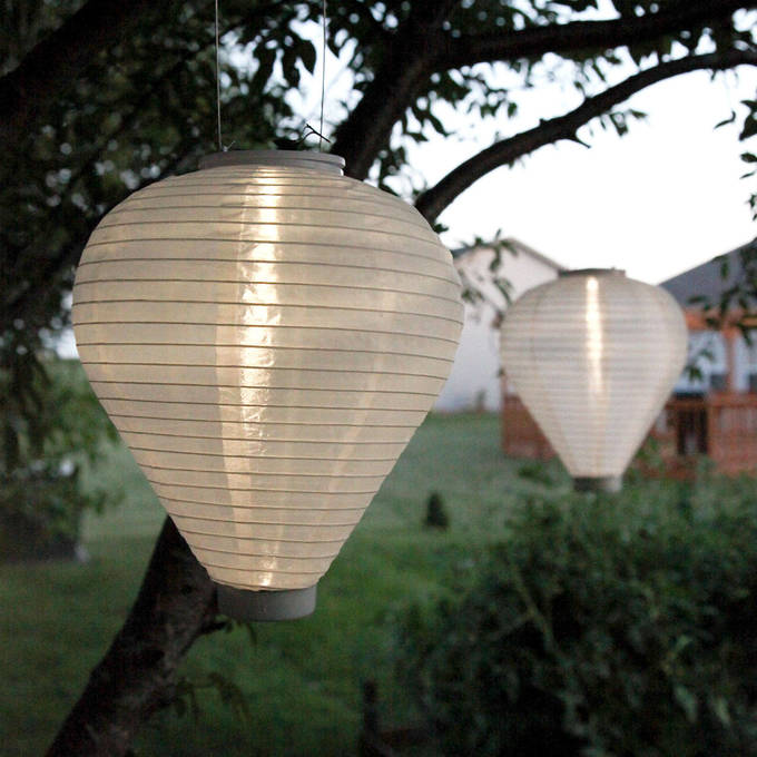 "White Solar 10"" Teardrop Lantern, Set of 2"