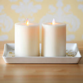 "Moving Flame Flat Top Flameless 5"" Pillar Candle with Timer, Set of 2"