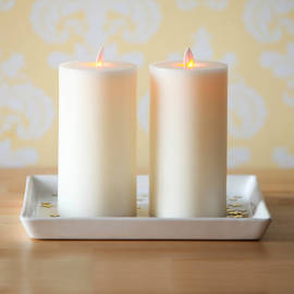 "Moving Flame Flat Top Flameless 7"" Pillar Candle with Timer, Set of 2"