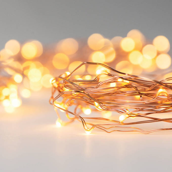 Warm White 50 LED Constellation Series Copper Wire Battery String Light, Set of 3