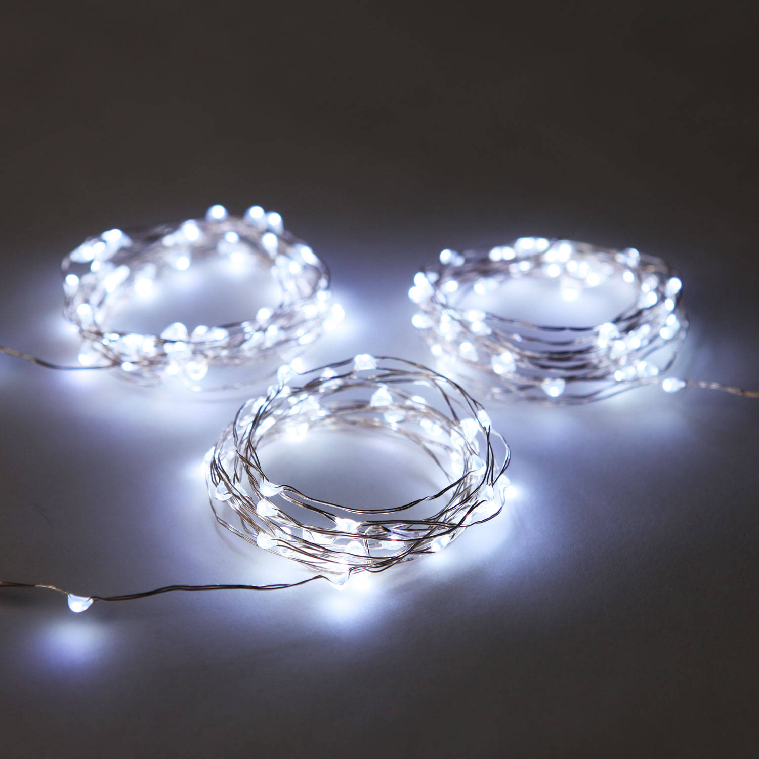 String Lights With Wire : Cool White 50 LED Silver Wire Battery String Light, Set of 3