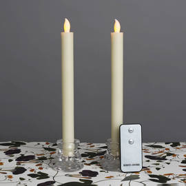 "Ivory 10"" Push-Activated Flameless Wax Tapers with Remote, Set of 2"