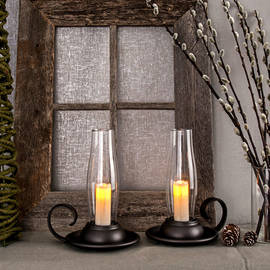 Black Antique Lantern with Flameless Votive and Timer, Set of 2