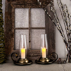 Brown Antique Lantern with Flameless Votive and Timer, Set of 2