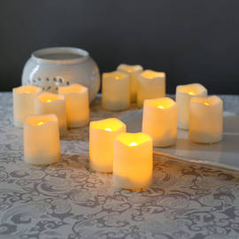 Melted Edge Flameless Resin Outdoor Mini Votives, Set of 12