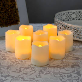 Melted Edge Flameless Resin Mini Votives with Remote, Set of 8
