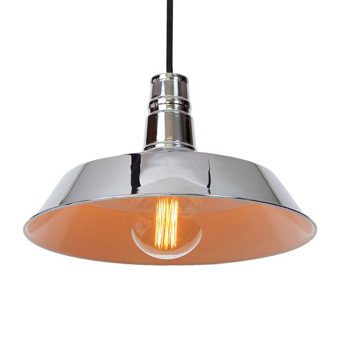 Modern Farmhouse Hanging Pendant with Bulb, Chrome