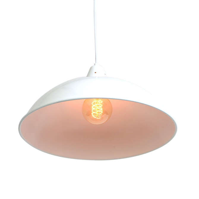 White Powder-Coated Hanging Dome Pendant with Bulb