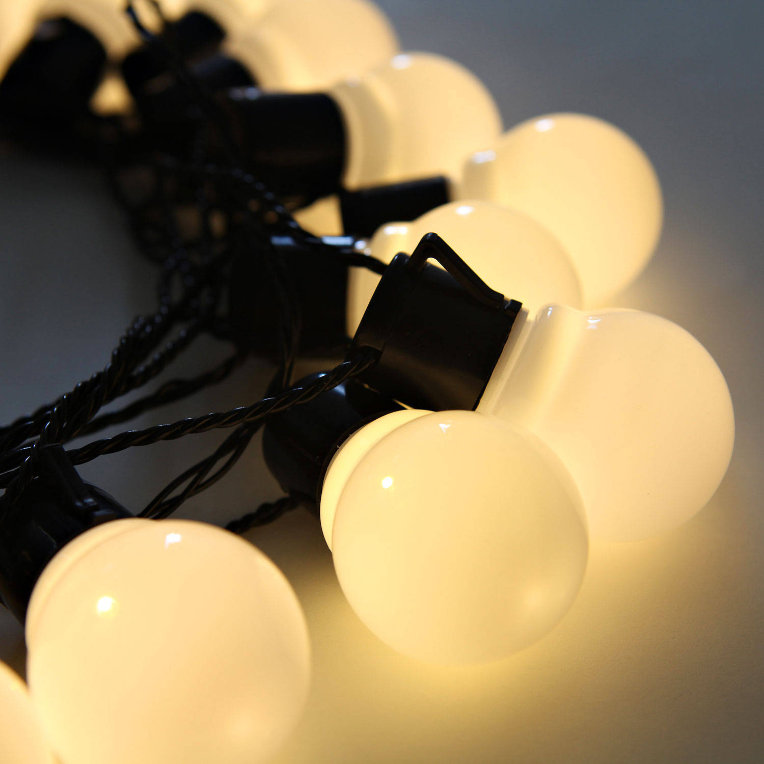 Lights.com String Lights Decorative String Lights White Globe Connectable Plug-in Festoon ...