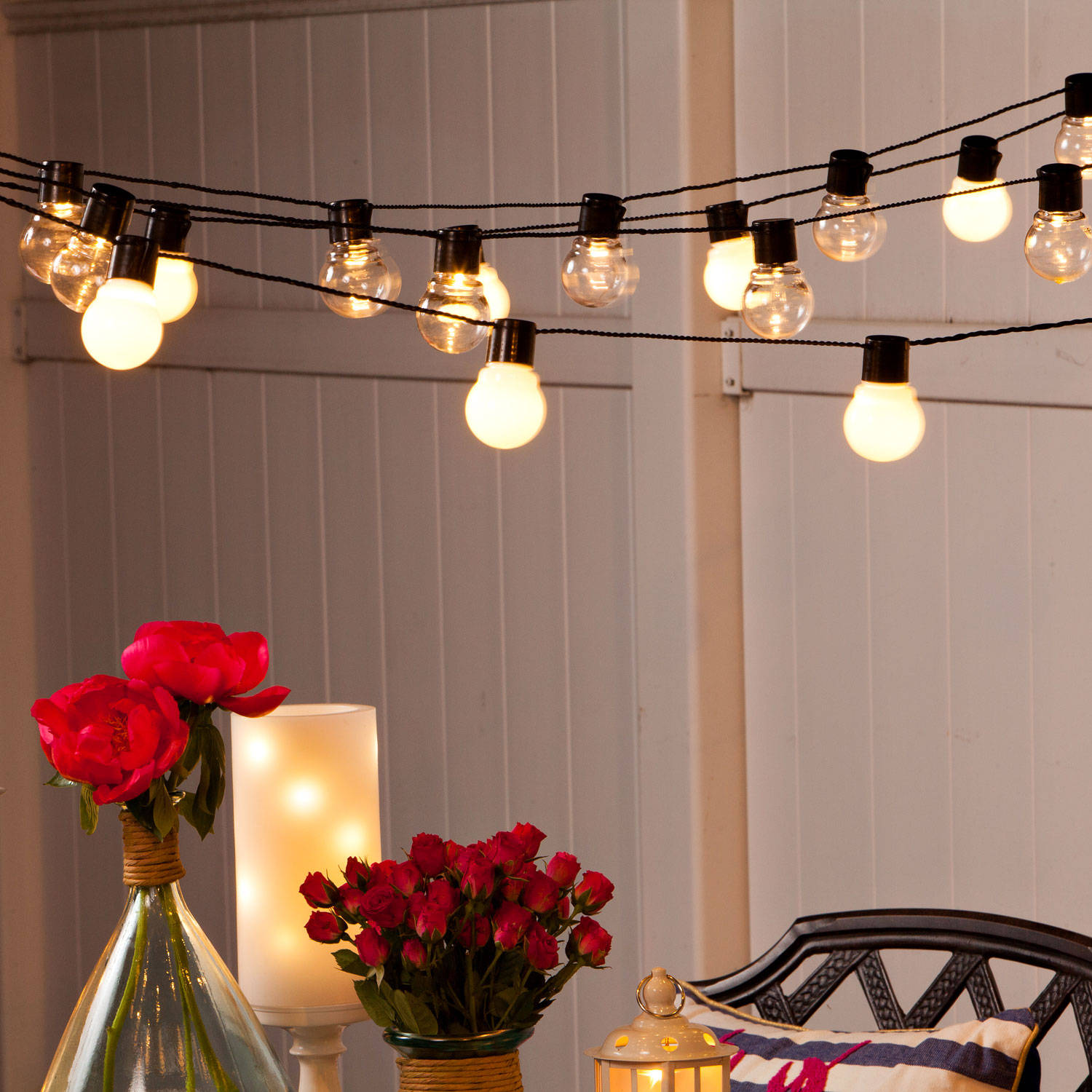 string lights decorative string lights white globe connectable plug in festoon. Black Bedroom Furniture Sets. Home Design Ideas