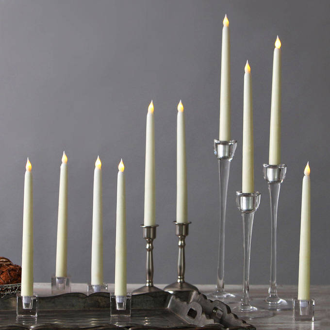 "Ivory 10"" Flameless Wax Vigil Taper Candles, Set of 10"