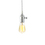 Polished Chrome Tillary Single Socket Pendant with Vintage Bulb, White