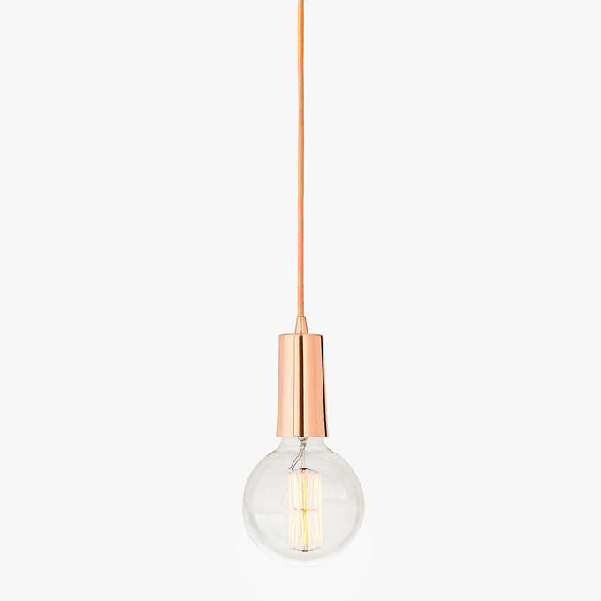 Rose Gold Single-Bulb Hanging Textile Cord Pendant with Vintage Bulb