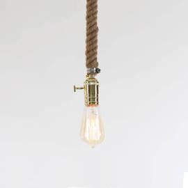 Vintage Nautical Plug-in Rope Pendant with Vintage Bulb