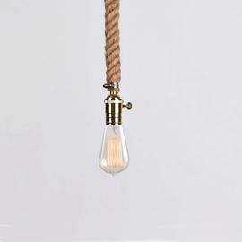 Vintage Nautical Plug-in Rope Pendant with Vintage Bulb