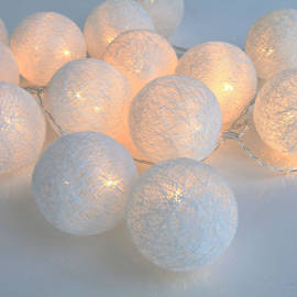 Warm White 30 LED Twine Globe Battery String Lights with Timer