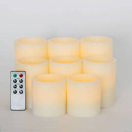 Flat Top Flameless Cream Wax Pillar Variety Set with Remote, Set of 8