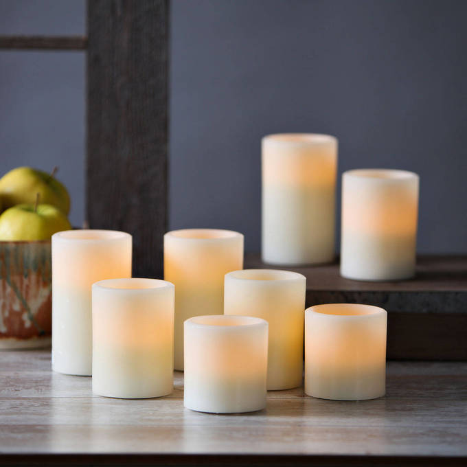 Cream Flat-Top Flameless Pillar Candles, Set of 8
