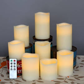 Melted Top Flameless Cream Wax Pillar Variety Set with Remote