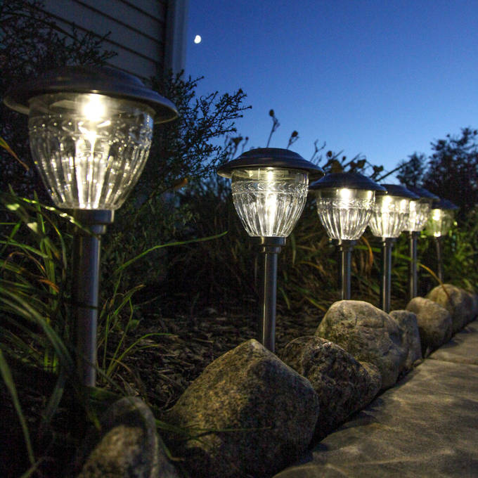 Stainless Steel Solar Path Lights, Set of 6