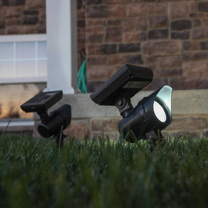 Bright White Solar Paneled Black Garden Spot Lights, Set of 2
