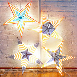 Patriot Series Paper Star Lantern with Plug-in Cord