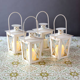 Mini Crossbar Lanterns with Votives and Remote, Set of 4