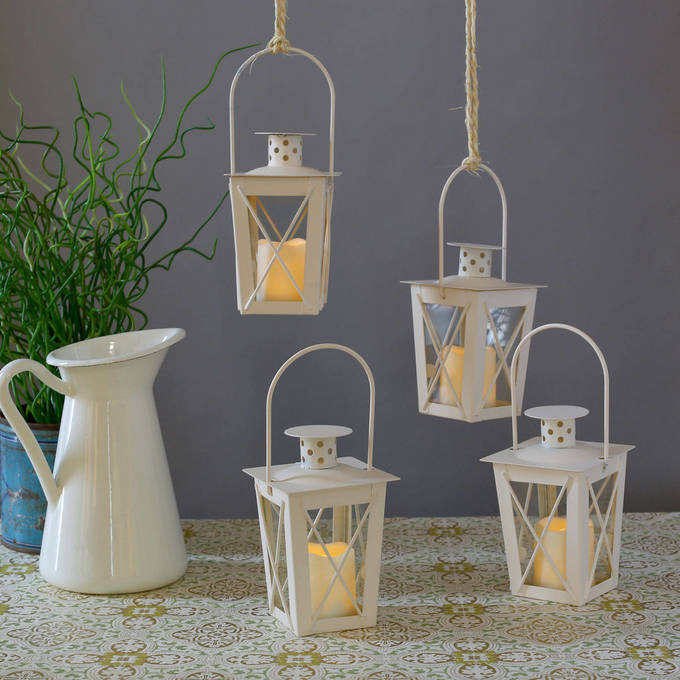 Matte White Cream Crossbar Lanterns with Votives and Remote, Set of 4