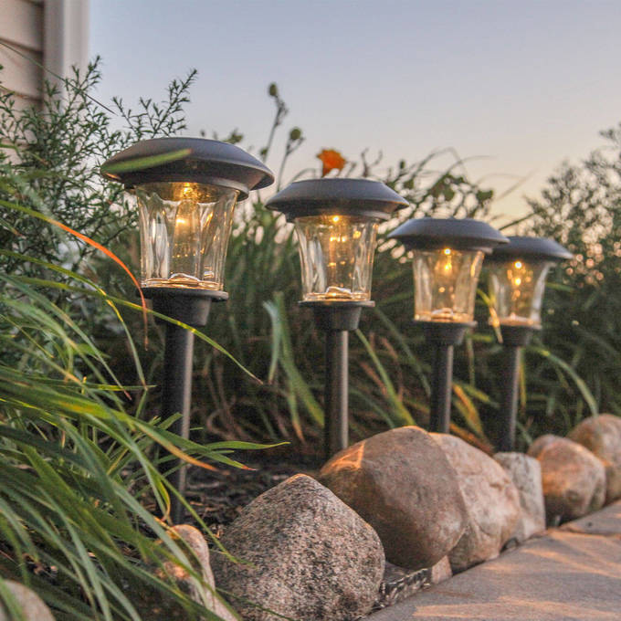 "Heavy Duty Black Plastic 14"" Warm White LED Solar Path Lights, Set of 4"