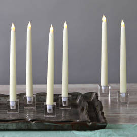 "Ivory Wax 10"" Vigil Taper Candles with Glass Candleholders, Set of 6"