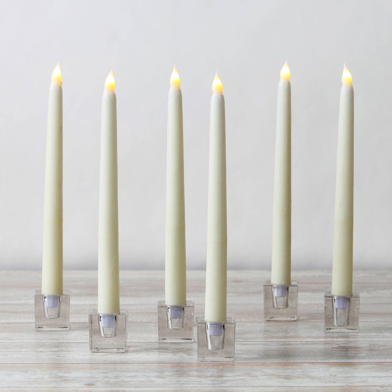 Lights Com Flameless Candles Taper Candles Ivory Wax