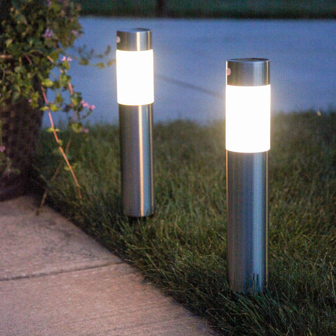 Frosted Warm White Stainless Steel Solar Garden Columns Set Of 2