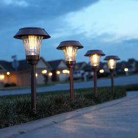 Warm White Copper Finished Shaded Solar Path Lights, Set of 4