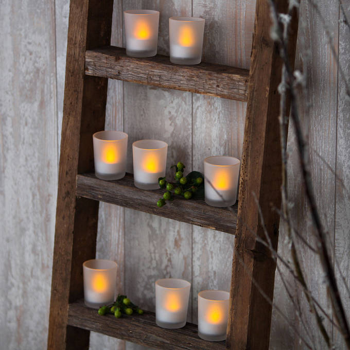 Flameless Table Top Amber LED Glass Votives with Removable Tea Lights, Set of 12