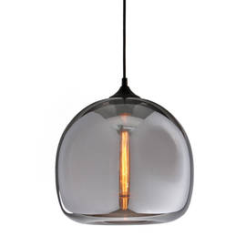 Caton Smoked Glass Pendant with Vintage Bulb