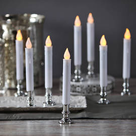 White Taper Candle with Removable Silver Base, Set of 8 with Remote