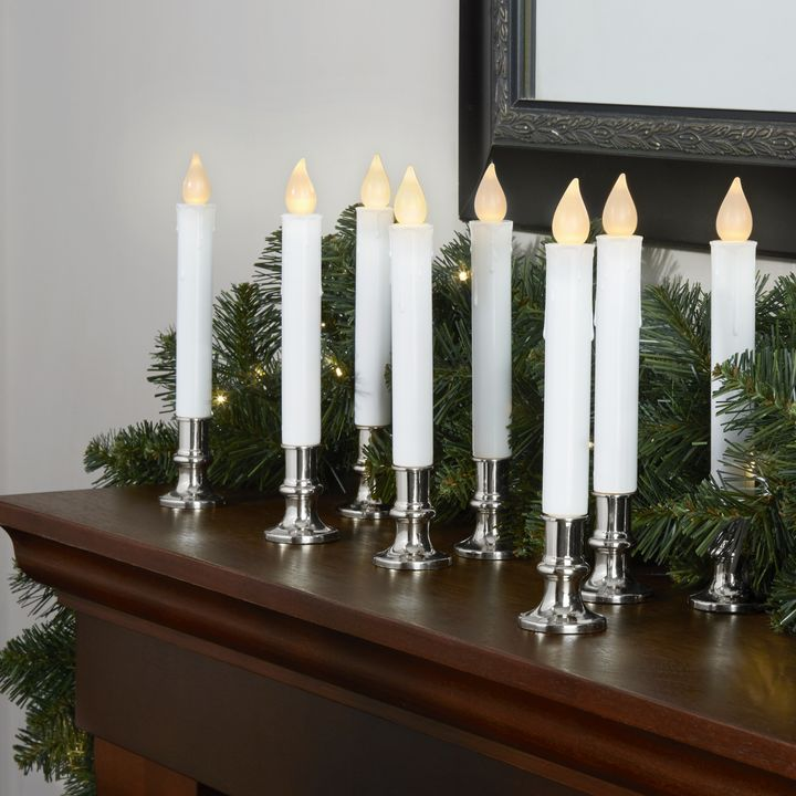 """Set of 8 ... White 7/"""" Flameless Resin Taper Candles with Removable Silver Bases"""
