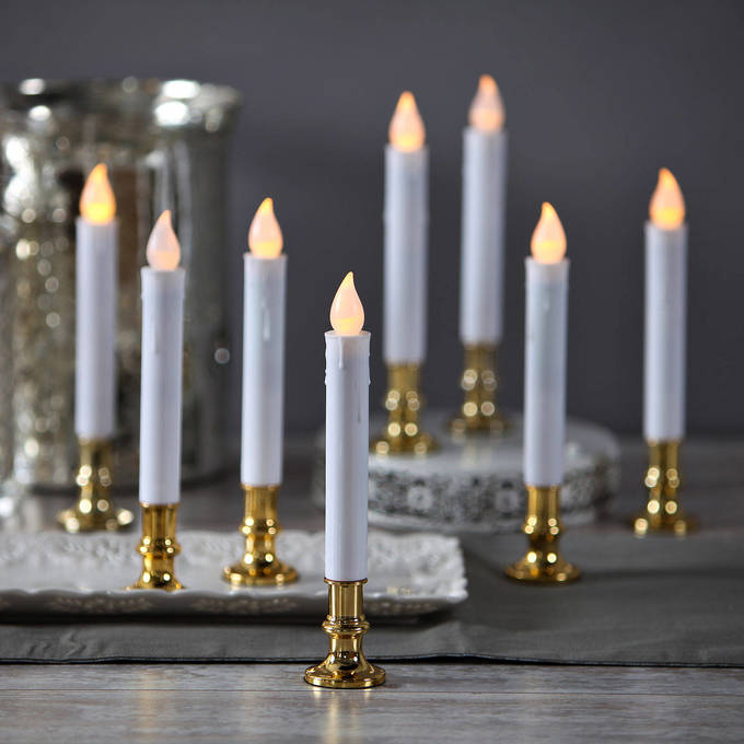 White Taper Candle with Removable Gold Base, Set of 8 with Remote