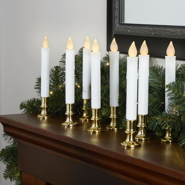 Lights Com Decor Flameless Candles Flameless Taper Candles White 7 Flameless Resin Taper Candles With Removable Gold Bases Set Of 8