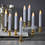 """White 7"""" Flameless Resin Taper Candles with Removable Gold Bases, Set of 8"""