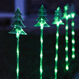 Acrylic LED Garden Stake Battery Lights with Automatic Timer, Set of 5