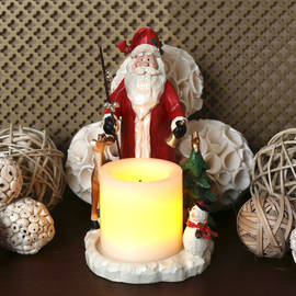 "Forest Friends Holiday Candle Holder with 3"" Candle and Auto Timer"