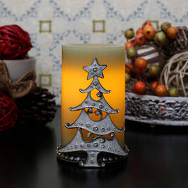 Decorative Winter Holiday Holder and Candle Set with Timer