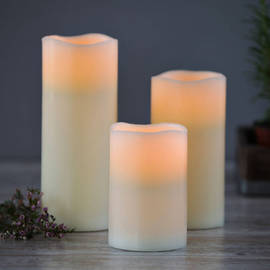 Melted Edge Flameless Smooth Ivory Wax Pillars with Remote, Set of 3