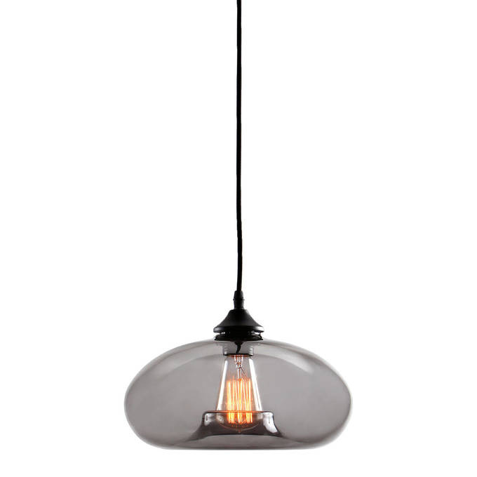 Greenwood Glass Pendant with Vintage Filament Bulb, Smoked Glass