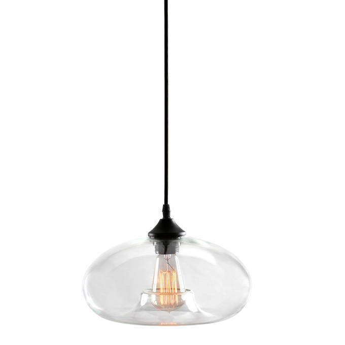 Greenwood Glass Pendant with Vintage Filament Bulb, Clear Glass