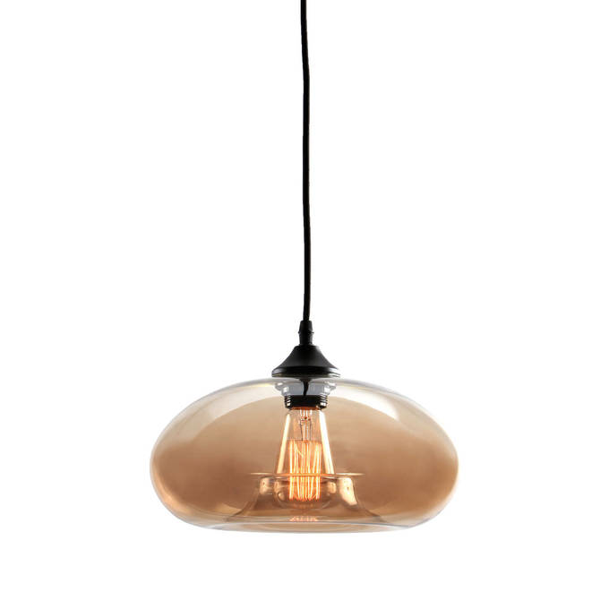 Greenwood Glass Pendant with Vintage Filament Bulb, Amber Glass
