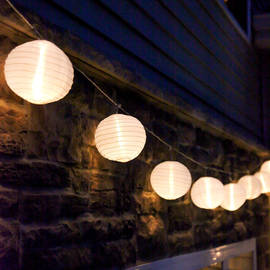 """White 6"""" Lantern Connectable Plug-in Lights with Timer, Strand of 20"""