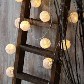 """White Connectable 3"""" Lantern Plug-in Lights with Timer, Strand of 30"""